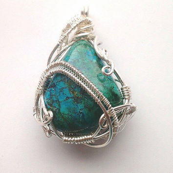Chrysocolla Pendant Sterling Silver Wire Wrap, Wire Jewelry,  Wire Wrap Jewelry, Sterling Silver Pendant, Energy Pendant, Female Shaman