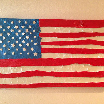 American flag upcycled art huge painting