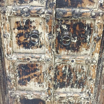 Antique Indian Cabinet Reclaimed Teak Doors India Furniture Rustic Distressed