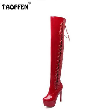 size 32-43 women high heel over knee boots fashion cross strap winter warm riding long boot sexy heels footwear shoes P20688