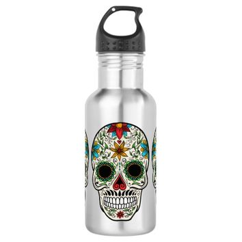 Day Dead Sugar Skull Stainless Steel Water Bottle