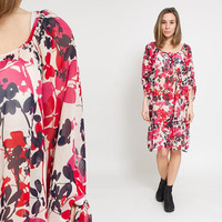 1990's Red Floral Dress - Vintage 90s Pink Cocoon Sheer Tunic Raglan Sleeves 70s Hippie Blue Slouchy Tent Boho Oversized Midi Gown L XL