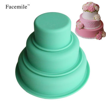 3PCS Nonstick Round Silicone Baking Molds Set Bakeware Pans Dishwasher & Fridge Molding For Cake/ Pies/ Bread/ Ice Cream