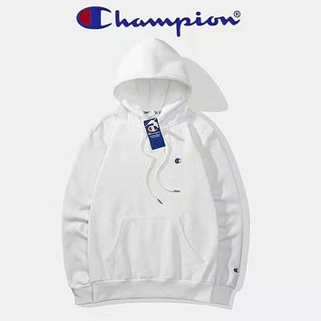 Champion High Quality Autumn And Winter New Fashion Bust Embroidery Logo Couple Long Sleeve Hooded Sweater Top White