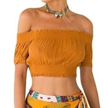 In The Moment Brown Short Sleeve Off The Shoulder Smocked Crop Top