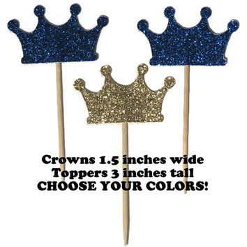 Royal Prince cupcake toppers, navy and gold crown decorations, little man baby shower, boys party supplies, babys first birthday, 12 pieces