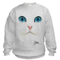 Cat Face Sweatshirt (2X, Ash Grey)
