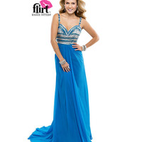 Flirt by Maggie Sottero 2014 Prom Dresses - Island Blue Chiffon Dress with Sparkle Bodice
