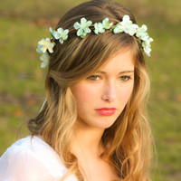 wedding accessories, bridal flower crown, wedding headpiece, headband, head wreath in seafoam, hair accessories, bridal, flower girl