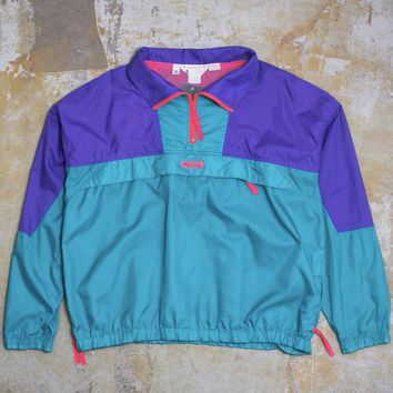 Columbia Neon Quarter Zip Windbreaker Jacket Teal / Purple (XL)