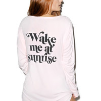 Wildfox Couture Wake Me At Sunrise Snowed In Sleep Shirt Ghost Pink