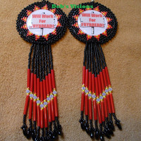Will Work For Frybread beaded rosette style earrings