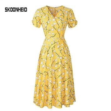 SKOONHEID New Summer Print Floral Dress Women V Neck Short Sleeves Chiffon Bohemian Dresses Beach Midi Female Wrap Long Dress