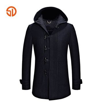 Brand Clothing Men Overcoat 2017 Winter Fashion Long Wool Coat Male Overcoats XXXL Hooded Jacket Man Woolen Plus Size M-3XL