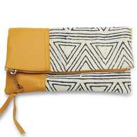 JOYN Navy Triangles Fold Over Clutch