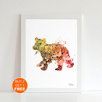 Baby bear watercolor print, Bear poster, bear nursery decor, bear art, Kids gift, Nursery art, home decor, baby gift