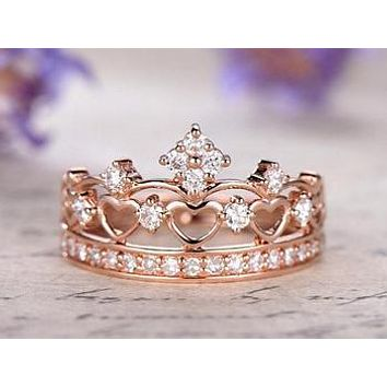 14K Rose Gold Diamond Royal Crown Ring