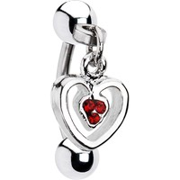 Red Gem Heart Dangle Eyebrow Ring