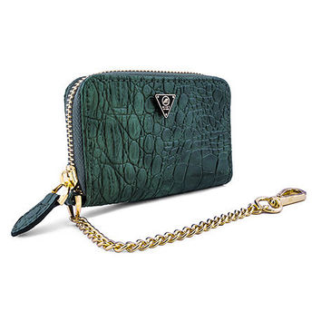 Mint Olive Crocodile Zip Wallet