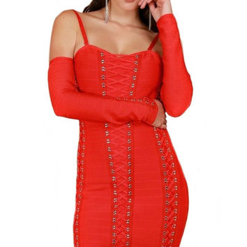 Devil Babe Lace Up Bandage Dress