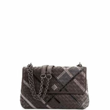 Bottega Veneta Olimpia Intrecciato Snakeskin & Leather Shoulder Bag, Black