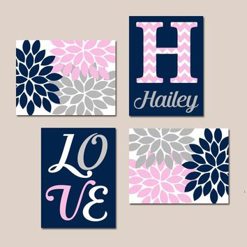 NAVY Pink Gray Nursery Wall Art, Canvas or Prints Baby GIRL Love Flower Burst Girl Bedroom Decor  Girl Monogram Name Set of 4 Crib Decor