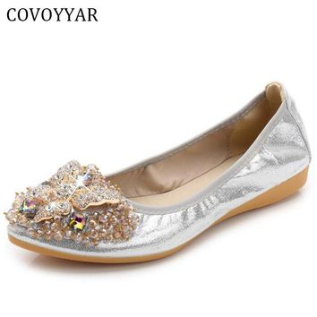COVOYYAR 2017 Luxury Rhinestone Ballet Flat Shoes Women Spring Autumn Butterfly Pointed Toe Golden Shoes Loafers Size 40 WFS740