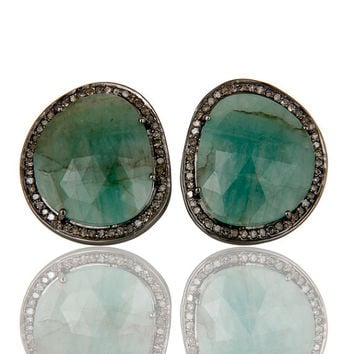 Emerald and Diamond Sterling Silver Black Oxidized Stud - diamond pave stud earrings - emerald gemstone stud earrings silver - Gift Earring