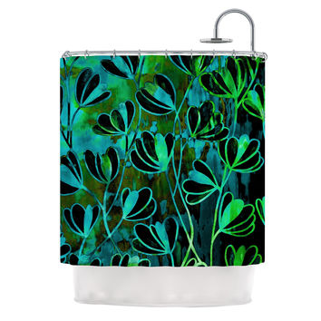 "Ebi Emporium ""Efflorescence - Lime Green"" Teal Black Shower Curtain"