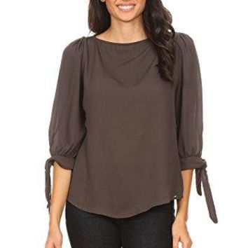 Via Jay Womens Basic Casual Relaxed Loose 34 Sleeve Blouse Top