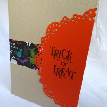 Halloween Card - Hand Made Greeting Card - Trick or Treat- Hand Stamped Card - Hand Stamped Halloween Card- Fall Card- Bat Card- Witch Card