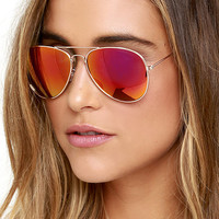 Breaking Waves Gold and Pink Mirrored Sunglasses