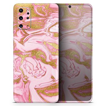 Rose Pink Marble & Digital Gold Frosted Foil V17 - Skin-Kit for the Samsung Galaxy S-Series S20, S20 Plus, S20 Ultra , S10 & others (All Galaxy Devices Available)