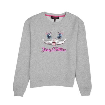 Heather Cozy Girls Sequin Cat Graphic Sweat Top by Juicy Couture,