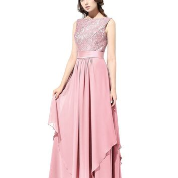AiYANA Women's Long Chiffon Bridesmaid Dress V-Back Evening Gown Prom Party Dress