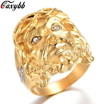 Gold Hip Hop Bling Bling Crystal Cross Jesus Piece Rings High Quality Fashion Charm Punk accessorie Jewelry