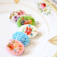 Sweet Cameo Barrettes Choose Any Two by NestPrettyThingsShop