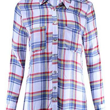 Ladies Code Womens Plaid Button Down Shirt Blouse with Roll up Sleeves Relaxed Fit