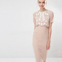 Frock and Frill Embellished Overlay Pencil Dress