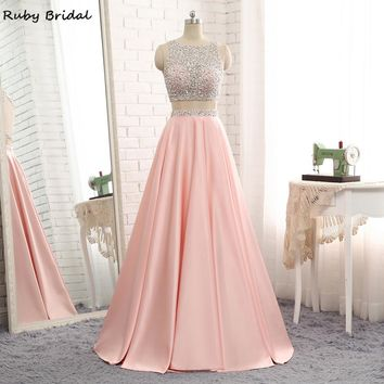 Ruby Bridal 2017 Vestido De Festa Long A-line Prom Dresses Pink Satin Beaded Luxury Straps Two Pieces Evening Party Gown P1210