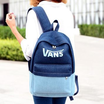 VANS logo Breathable casual denim rucksack canvas backpack