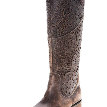 Corral Brown Laser Cut Riding Boots