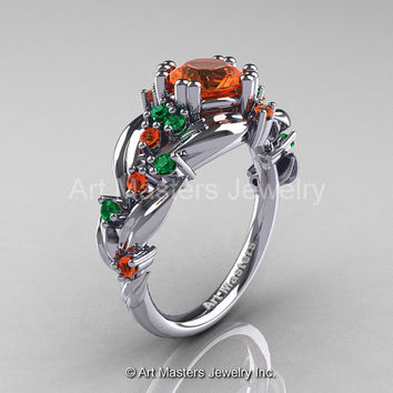 Nature Classic 14K White Gold 1.0 Ct Orange Sapphire Emerald Leaf and Vine Engagement Ring R340-14KWGEMOS