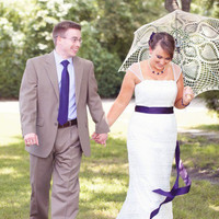 "48"" Wedding Ecru Ivory Lace Crochet UMBRELLA Sunbrella PARASOL- Valentines Day Favor- Made to order"
