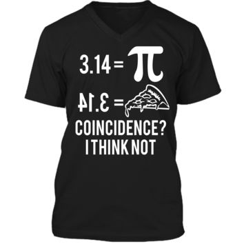 Funny Math Pun Pi Day 2019 Pi Equals Pie T-Shirt Mens Printed V-Neck T