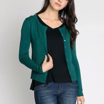In Session Cardigan In Hunter Green | Ruche