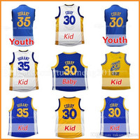 Youth Kid's 30 Stephen Curry 35 Kevin Durant Basketball Jerseys Embroidery 2017 Christmas Edition Baby 30 Stephen Curry \Durant Jersey