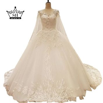 High-end White Low Back Wedding Dresses with Shawl Beaded Sequins Lace Ball Gown Floor Length Bridal Gowns Robe De Mariage