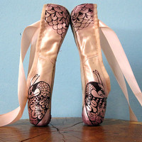 Mehndi Pointe Shoes, Phoenix, Red and Pink, Ombre, Hand Dyed, Upcycled