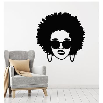 Vinyl Wall Decal Beauty Black Lady Afro Hair Salon Style Curls Stickers Mural (g1824)